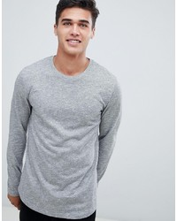 ASOS DESIGN Long Sleeve T Shirt In Twisted Jersey Textured Fabric With Curved Hem In Grey
