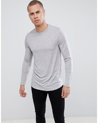 ASOS DESIGN Longline Long Sleeve T Shirt With Curved Hem In Linen Mix Fabric In Grey