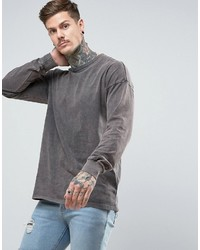 Asos Oversized Long Sleeve T Shirt In Heavy Weight Jersey With Acid Wash