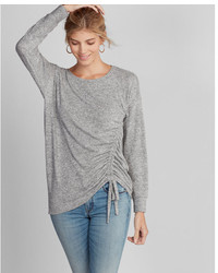 Express Plush Jersey Front Tie Long Sleeve Tee