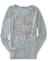 Ps From Ropostale Ropostale Kids Ps Girls Long Sleeve Star Bright Tee Shirt Light Heather Grey