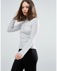 Only Ribbed High Neck Long Sleeved Tee