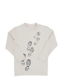 Il Gufo Shoe Print Graphic Long Sleeve T Shirt Grey