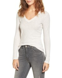 James Perse Slub Cotton V Neck Long Sleeve Tee