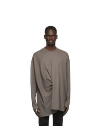 Julius Taupe Twisted Long Sleeve T Shirt