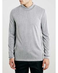 Topman Textured Rib Turtle Neck Long Sleeve T Shirt