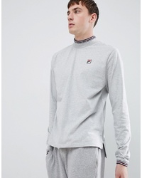 Fila White Line Quentin Long Sleeve T Shirt With High Neck In Grey