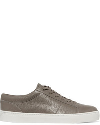 Vince Afton Textured Leather Sneakers Gray