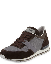 Tod's Lace Up Trainer Sneaker Browngray
