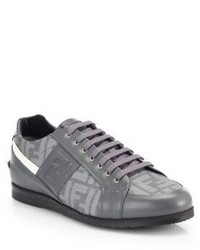 Fendi Zucca Softy Lace Up Leather Sneakers