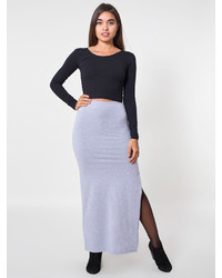 American Apparel Cotton Spandex Slit Maxi Skirt