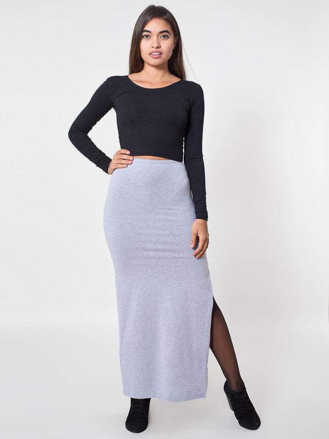 f1e3574079 American Apparel Cotton Spandex Slit Maxi Skirt, $45 | American ...