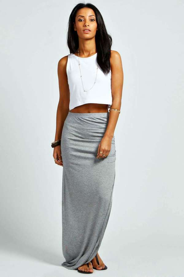 Boohoo Micha Ruched Side Jersey Maxi Skirt | Where to buy & how to ...