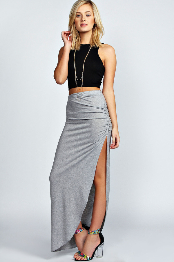 Boohoo Tamsin Ruched Side Jersey Maxi Skirt | Where to buy & how ...
