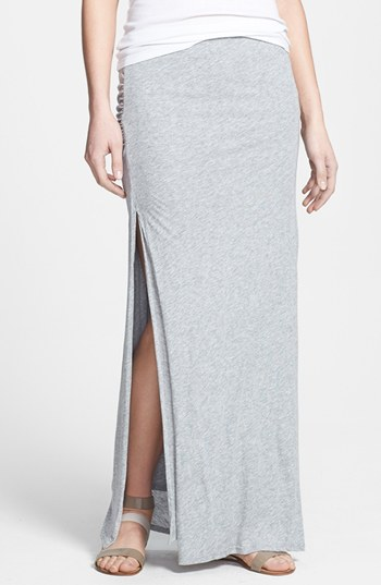 Soft Joie Dacie Side Slit Jersey Maxi Skirt Heather Grey Large ...
