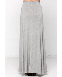 LuLu*s Stretch Of The Imagination Heather Grey Maxi Skirt | Where ...