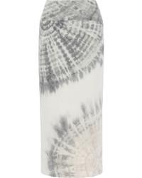 Raquel Allegra Tie Dyed Cotton Blend Jersey Maxi Skirt Light Gray