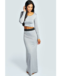 c81ee5316a31 Boohoo Vivian Viscose Jersey Belted Maxi Skirt Out of stock · Boohoo Tilly  Long Sleeve Crop Top Maxi Skirt Co Ord Set