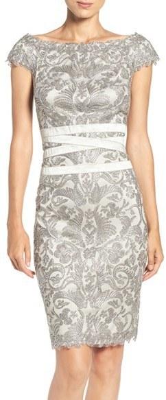 38e237c15ec9 Tadashi Shoji Embroidered Off The Shoulder Mesh Sheath Dress, $348 ...
