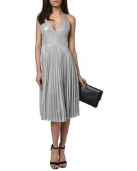 Metallic plunge pleat midi dress medium 516924