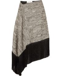 MARQUES ALMEIDA Asymmetric Fringed Cotton Blend Midi Skirt