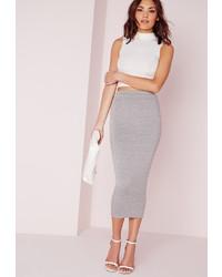 Missguided Longline Jersey Midi Skirt Grey