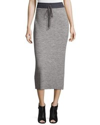 DKNY Ribbed Drawstring Midi Skirt Heather Gray