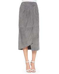 Tibi Suede Featherweight Wrap Skirt