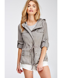 Forever 21 Contemporary Life In Progress Hooded Utility Jacket
