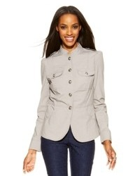 INC International Concepts Petite Button Front Military Jacket
