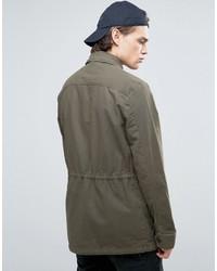 Asos Military Jacket With Drawstring In Khaki