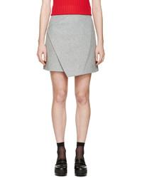 Carven Grey Wool Wrap Skirt