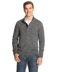 Merona Button Mock Neck Sweater Black Tm