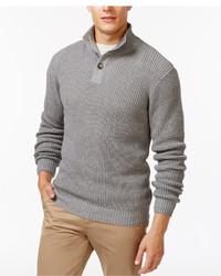 Weatherproof Tuck Stitch Mock Collar Sweater