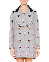 Fendi Long Sleeve Shawl Collar Coat Gray