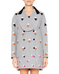 Fendi Long Sleeve Shawl Collar Coat Gray