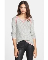 Milly Contrast Stitch Cotton Linen Sweater Marble Petite