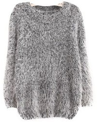 Grey Mohair Oversized Sweater