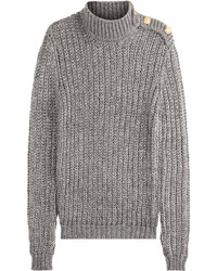 Balmain Mohair Blend Turtleneck Pullover With Embossed Buttons