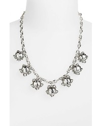 Tory Burch Emma Faux Pearl Frontal Necklace Grey Pearl Tory Silver