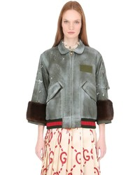 Gucci Spray Painted Nylon Bomber W Mink Fur