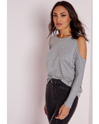 Missguided Grey Cold Shoulder Tunic Top