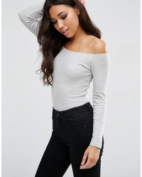 Asos Long Sleeve Off Shoulder Top In Rib