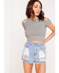 Missguided Cold Shoulder Knit Crop Top Grey