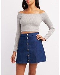 Charlotte Russe Off The Shoulder Crop Top