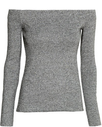 H&M Off The Shoulder Top Gray Melange Ladies