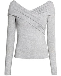 H&M Off The Shoulder Top Light Gray Melange Ladies