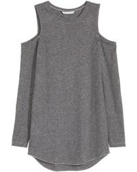 H&M Open Shoulder Top Dark Gray Melange Ladies