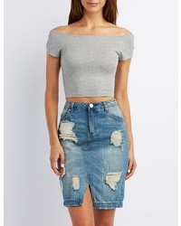 Charlotte Russe Ribbed Off The Shoulder Crop Top