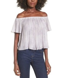Storee pleated off the shoulder crop top medium 697615